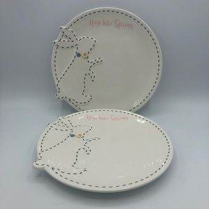 Envogue HOP INTO SPRING Bunny Dessert Plate Set 2
